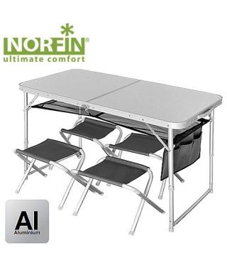 Стол складной Norfin RUNN NF алюминиевый 120x60 +4 стула набор
