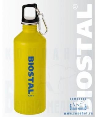 Бутылка Biostal NS-750 0,75л (нерж.,пробка с карабином) Желтая